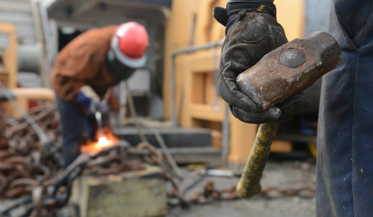 Working men on building site
